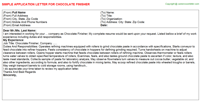 chocolate finisher application letter template