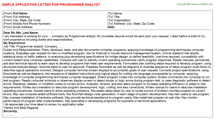 Programmer Analyst Job Application Letter Template