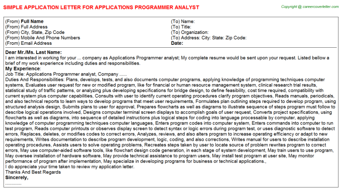 applications programmer analyst application letter template