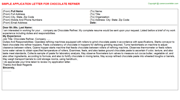 chocolate refiner application letter template