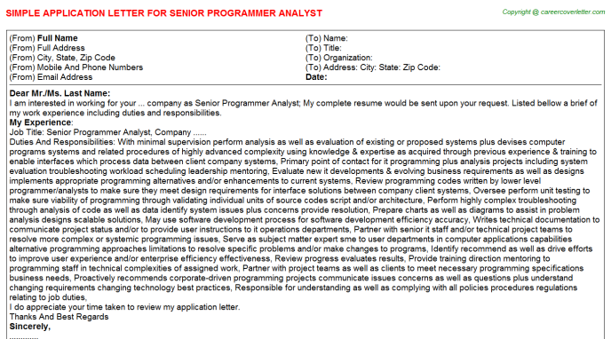 senior programmer analyst application letter template