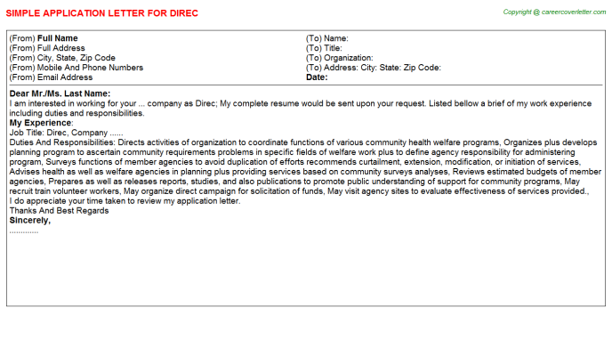 Direc Application Letter Template