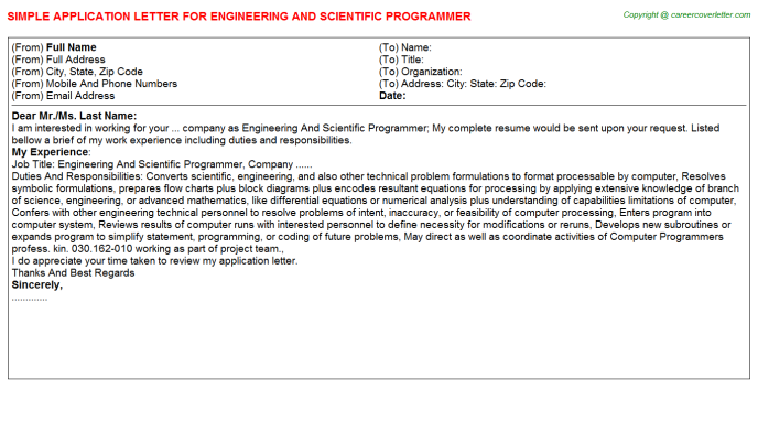 Engineering And Scientific Programmer Application Letter Template