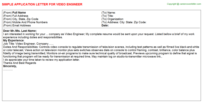 video engineer application letter template