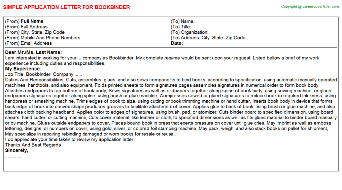 Bookbinder Job Application Letter Template