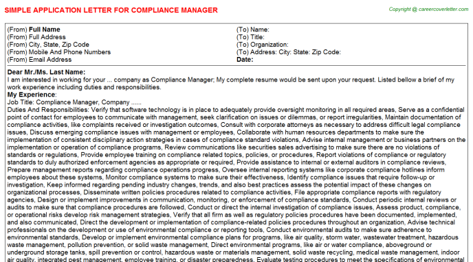 Compliance Manager Application Letter