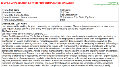 Compliance Manager Job Application Letter Template