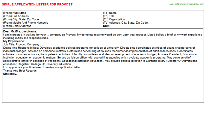Provost Job Application Letter Template