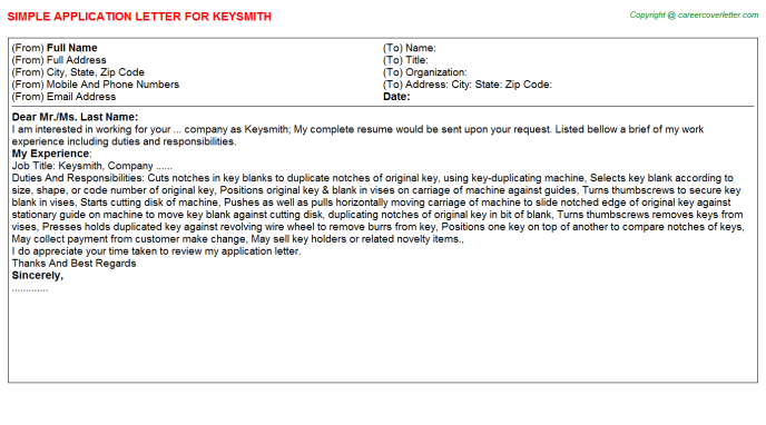 Keysmith Application Letter Template