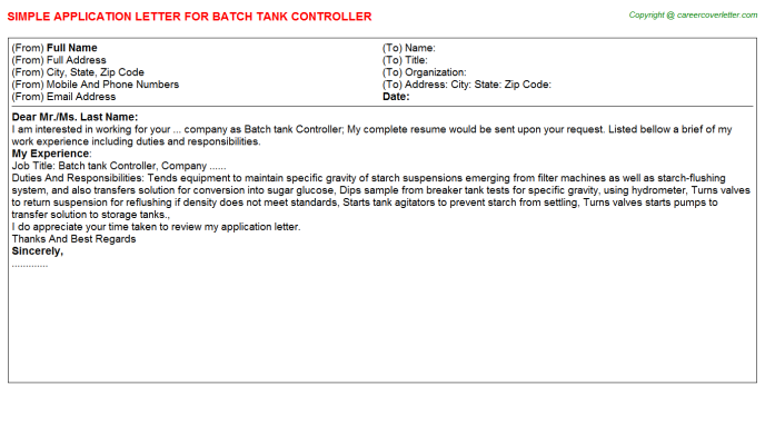 batch tank controller application letter template