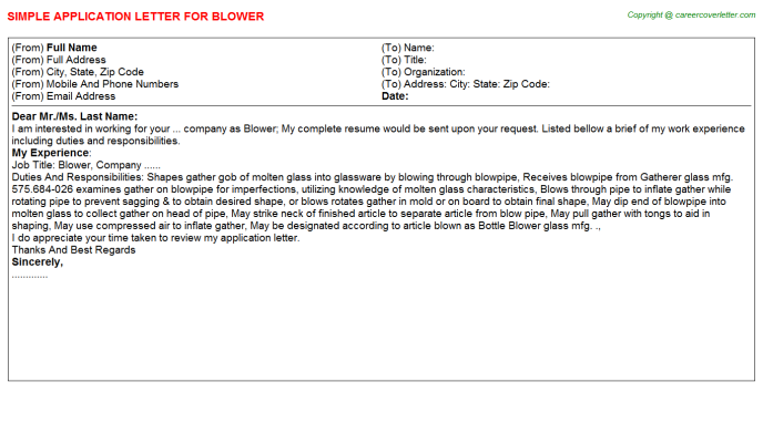 Blower Application Letter Template