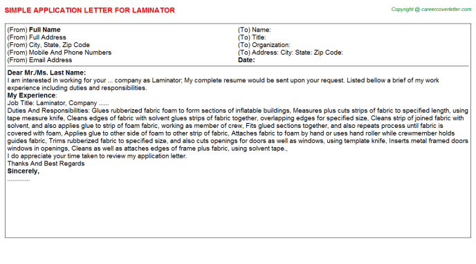 Laminator Job Application Letter Template