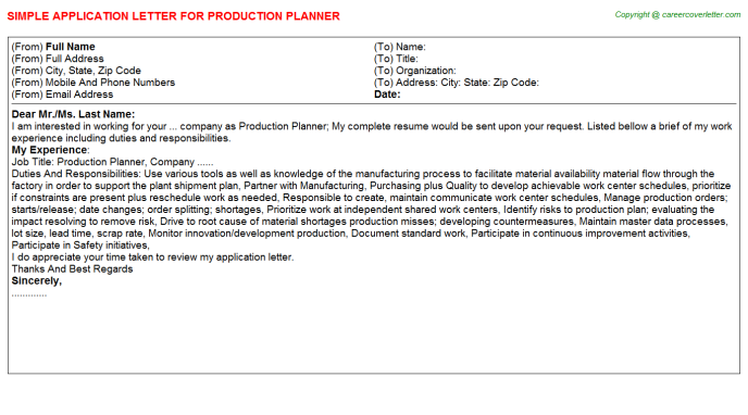 Production Planner Application Letter Template