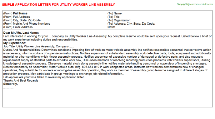 Utility Worker Line Assembly Application Letter Template