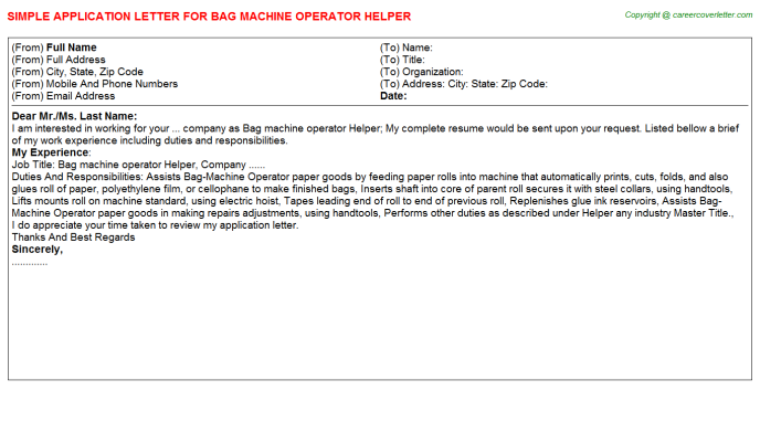 Bag Machine Operator Helper Job Application Letter Template