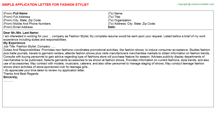fashion-stylist-application-letter Sample Application Letter For Cashier Job on for server, for record centre, for dispatch rider, for teaching, to write, for students, nurse cover,