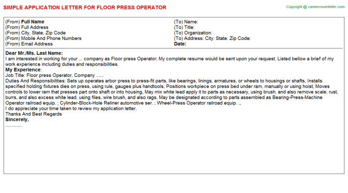 Floor Press Operator Application Letter Template