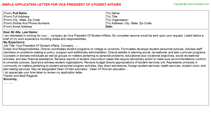 vice president of student affairs job application letter