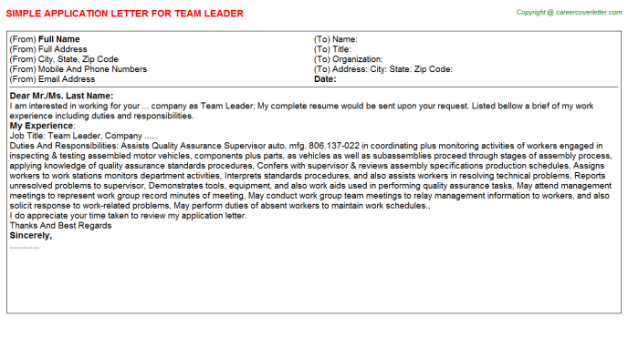team leader application letter template