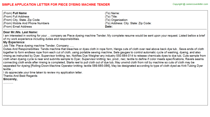 Piece Dyeing Machine Tender Job Application Letter Template