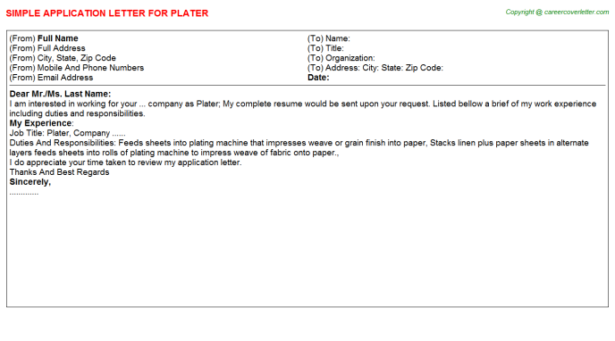 Plater Job Application Letter Template