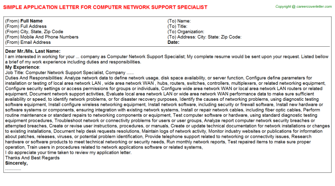 Computer Network Support Specialist Job Application Letter Template