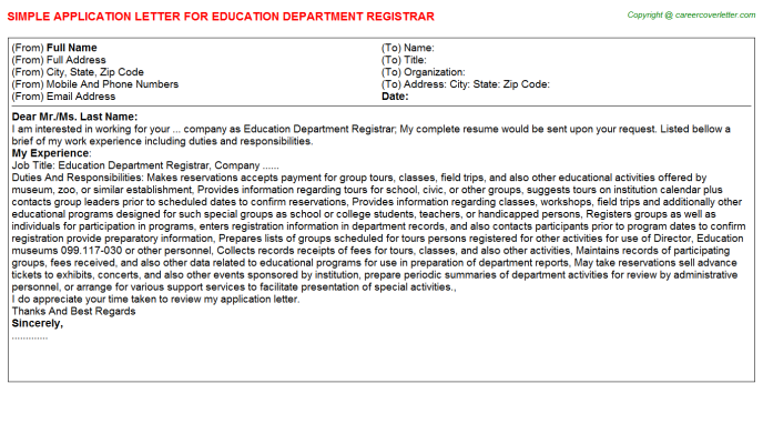 Education Department Registrar Job Application Letter Template
