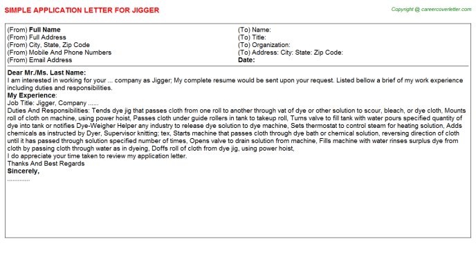 Jigger Application Letter Template