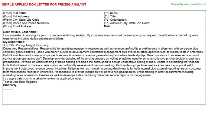 Pricing Analyst Application Letter Template