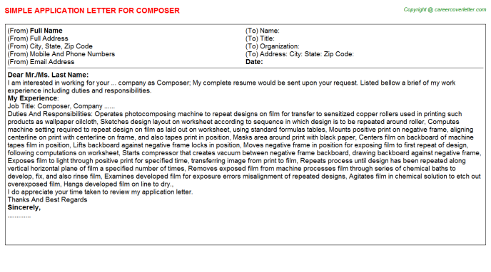 Composer Application Letter Template