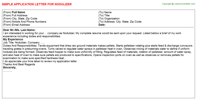 Nodulizer Application Letter Template