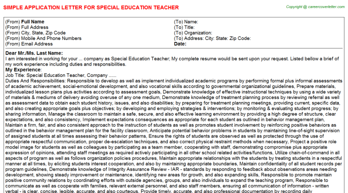 Special Education Teacher Application Letter Template