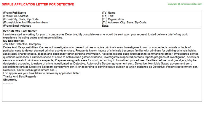 Detective Application Letter Template