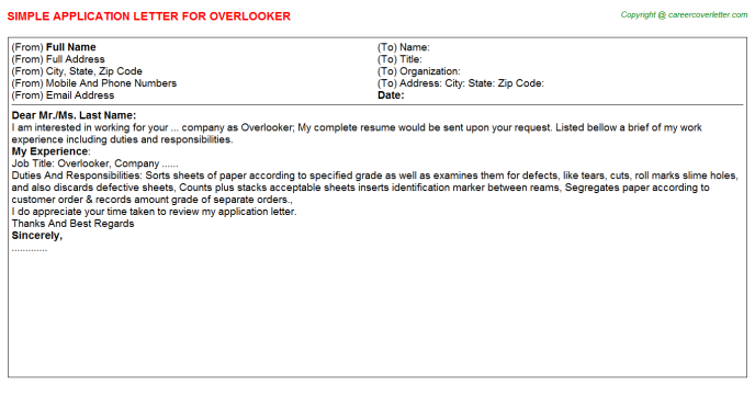 Overlooker Application Letter Template