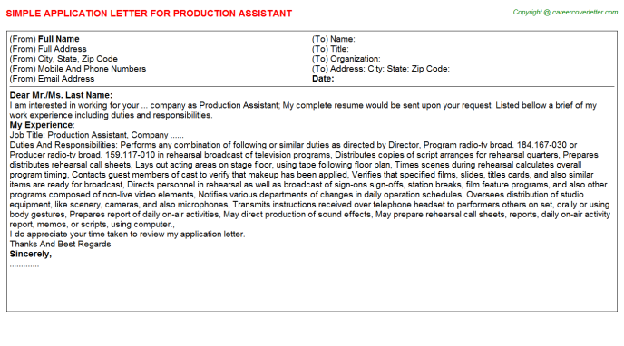 production assistant application letter template