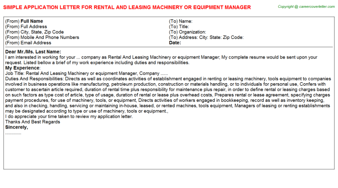 Rental And Leasing Machinery or equipment Manager Application Letter Template