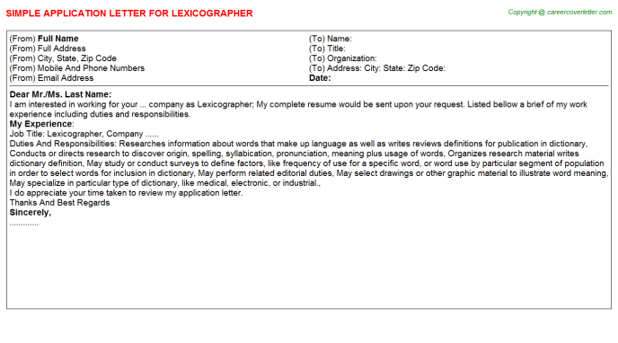 Lexicographer Application Letter Template