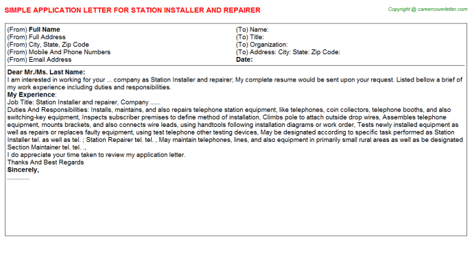 Station Installer and repairer Application Letter Template