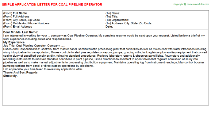 Coal Pipeline Operator Application Letter Template