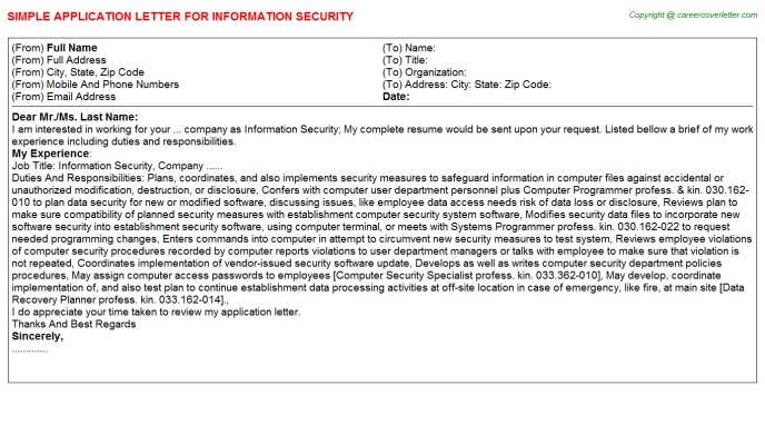 Hotel Security Guard Application Letters