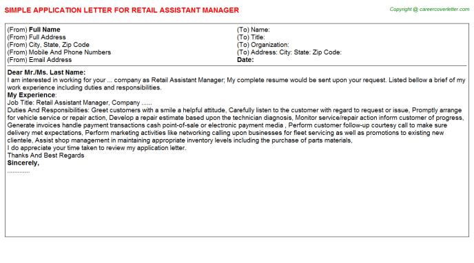 Retail Assistant Manager Application Letter Template