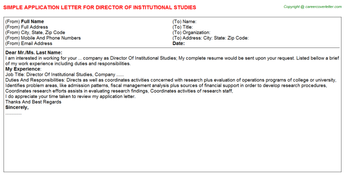 director of institutional studies application letter template