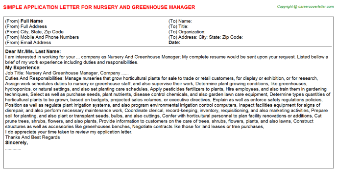 Nursery And Greenhouse Manager Job Application Letter