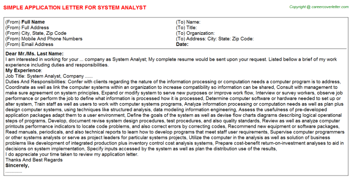 System Analyst Application Letter Template