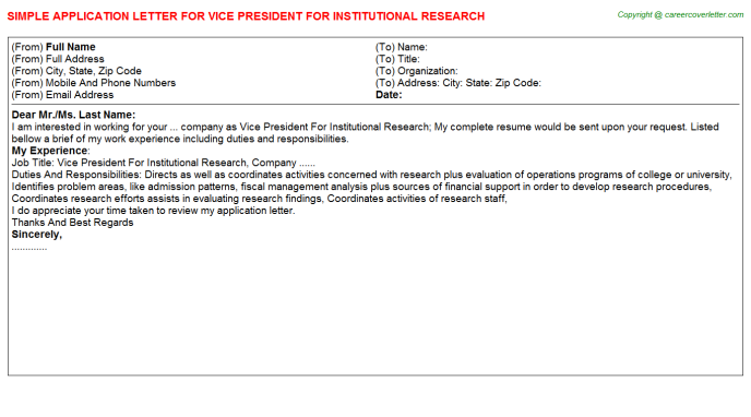 vice president for institutional research application letter template