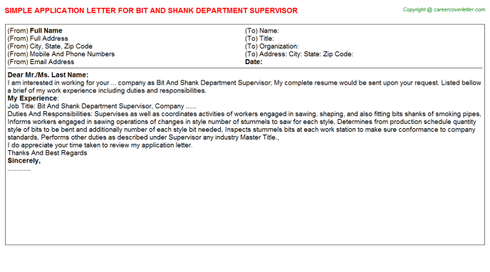 Bit And Shank Department Supervisor Application Letter Template