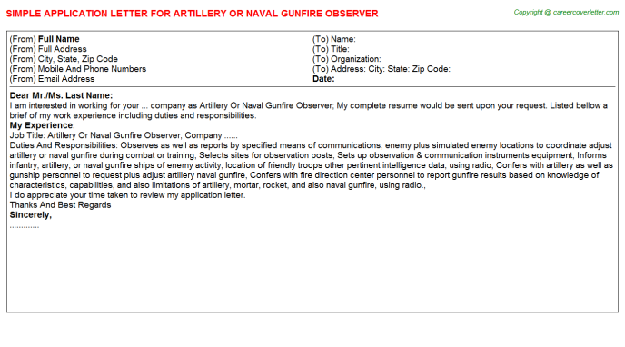 artillery or naval gunfire observer application letter template