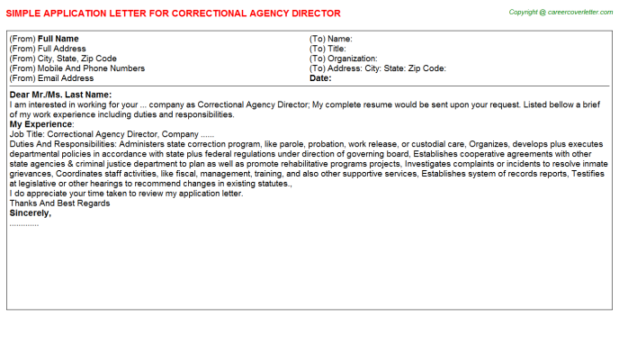 correctional agency director application letter template