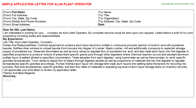 Alum Plant Operator Application Letter Template