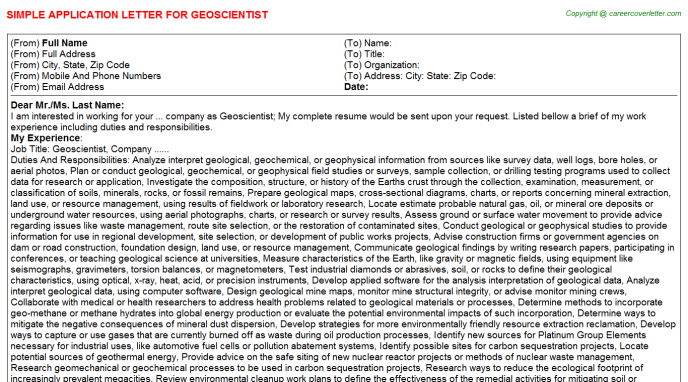 Geoscientist Application Letter Template